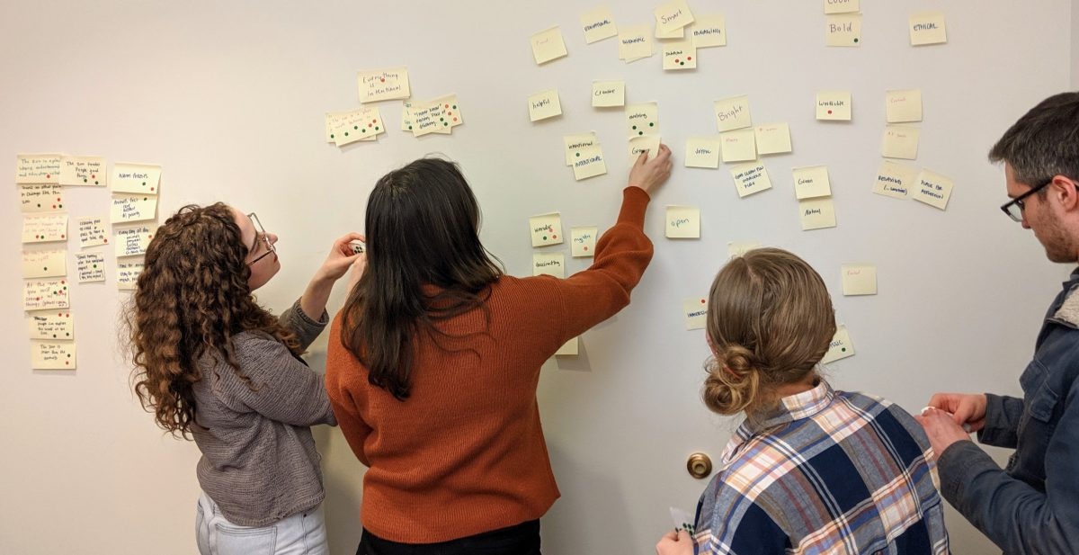 Clique team using stickers to vote on sticky notes