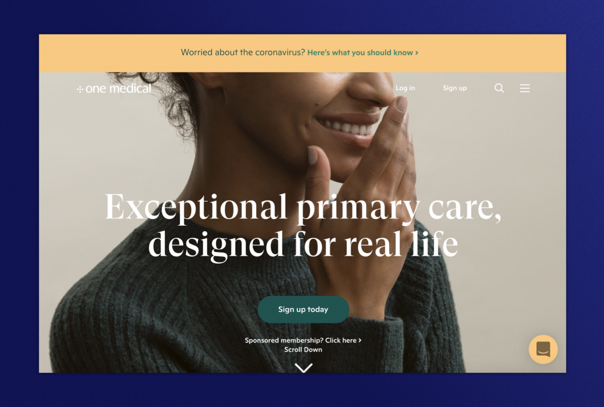 One Medical homepage