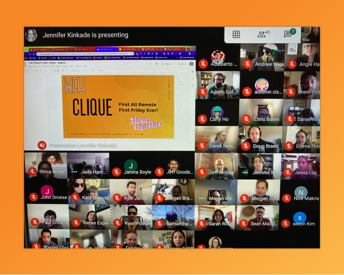 a grid of people on a remote call with a presentation showing