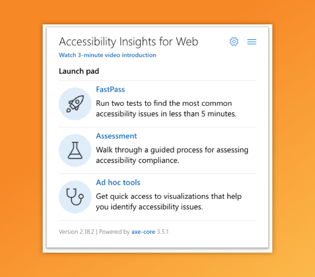 Opening screen for AIW's accessibility checks