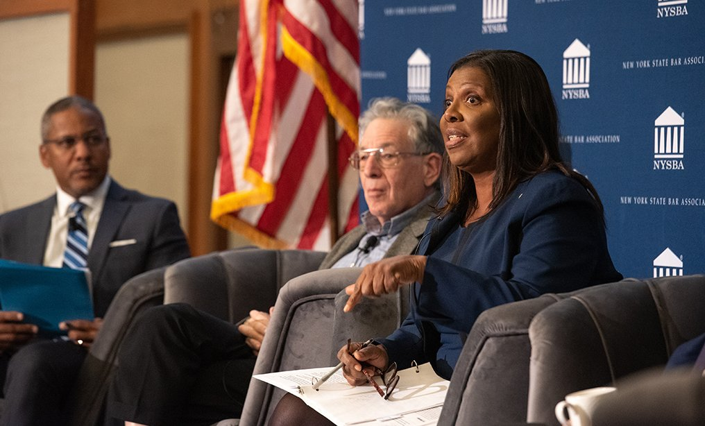 NYSBA hosted event, panel of judges and lawyers speaking