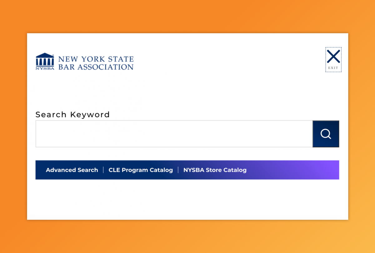 "A query box labeled ""Search keyword"" with links to advanced search, DLE program catalog, and NYSBA store catalog"