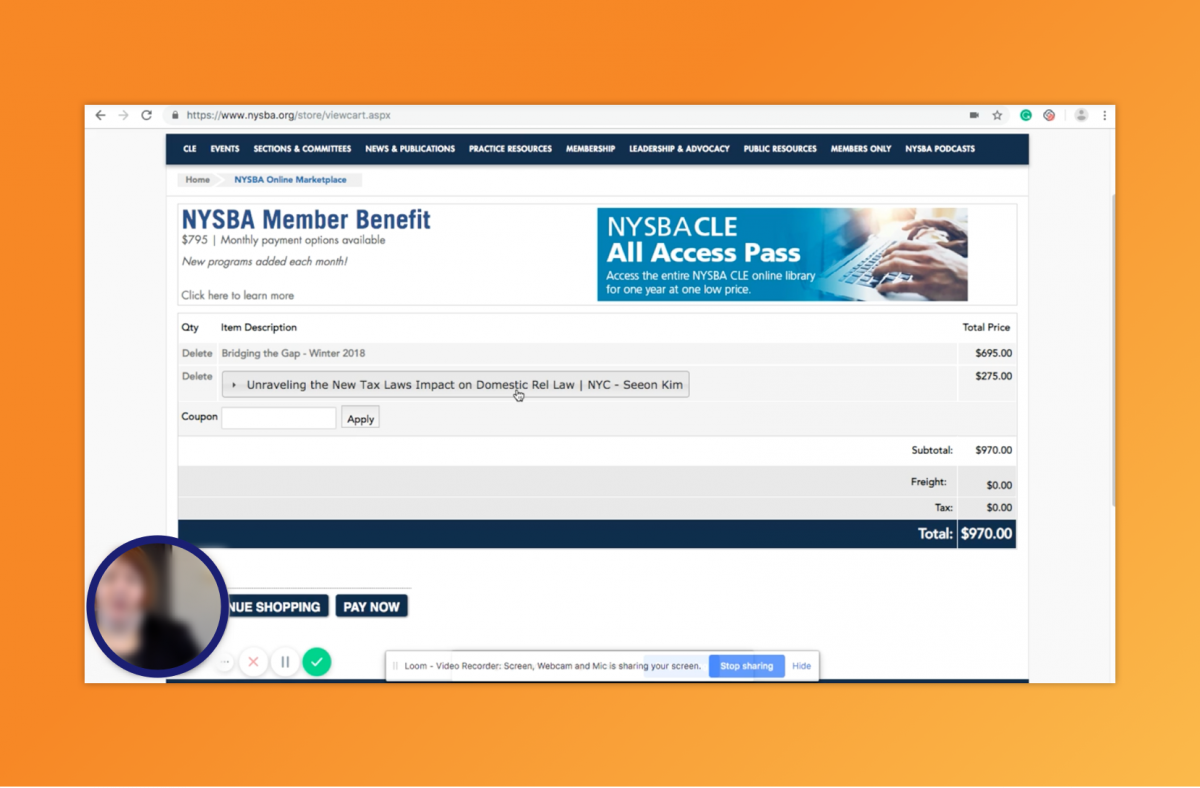Webpage from NYSBA's prior website with a blurred user's face in the bottom corner