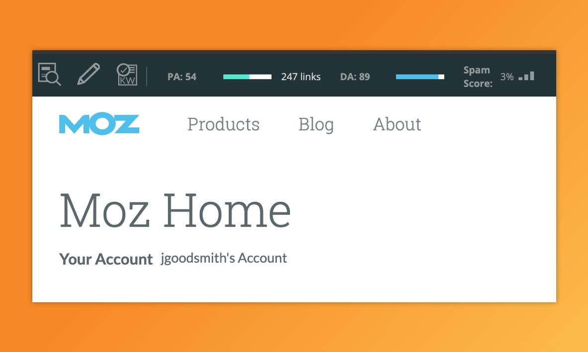A screenshot of the Mozbar home screen
