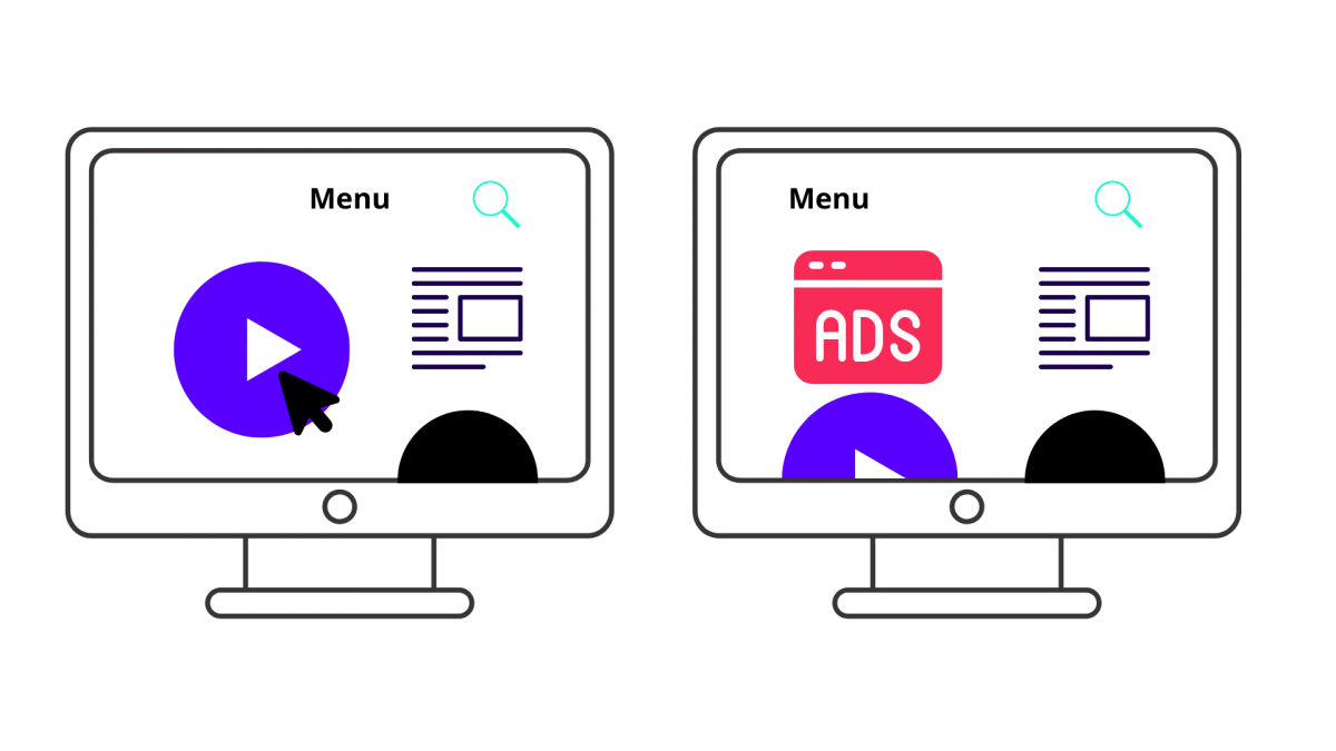 Two illustrated computer monitors, the second of which featuring an ad popping up on the screen