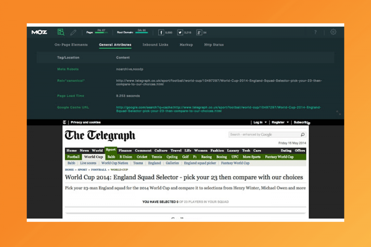 A Screenshot of MozBar being used on an article by The Telegraph