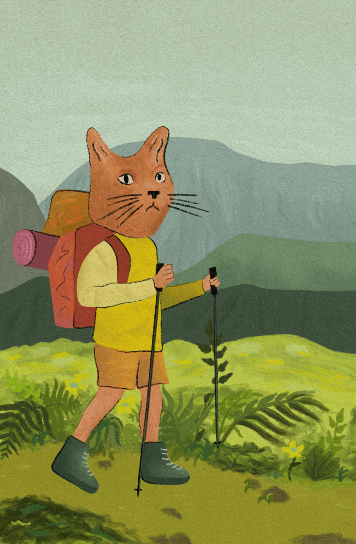 An illustration of a cat with a backpack and hiking polls in front of a mountainscape